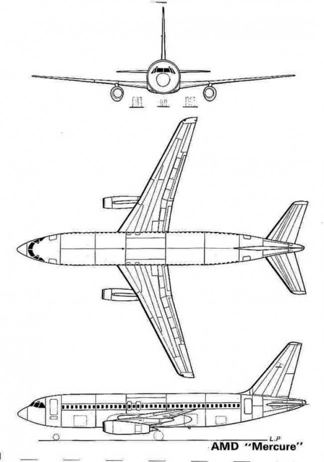 dassault mercure 3v model airplane plan