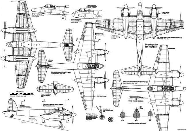 de havilland dh103 hornet 3 model airplane plan