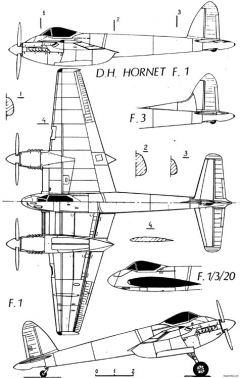 de havilland dh103 hornet 7 model airplane plan