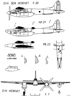 de havilland dh103 hornet 8 model airplane plan