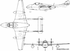 de havilland dh115 vampire trainer 1950 england model airplane plan