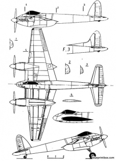 de havilland dh 103 hornet model airplane plan