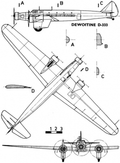 dewoitine333 3v model airplane plan