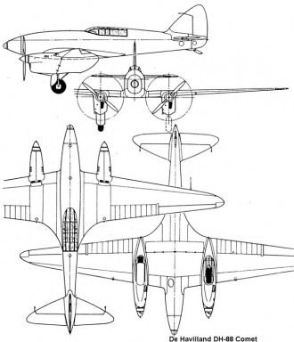 dh88 comet 3v model airplane plan