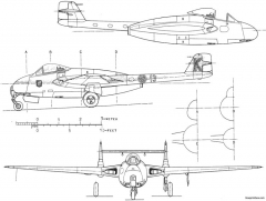 dh vampire j 28 4 model airplane plan