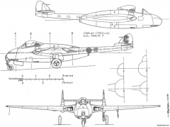 dh vampire j 28 6 model airplane plan