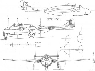 dh vampire j 28 6 model airplane plan