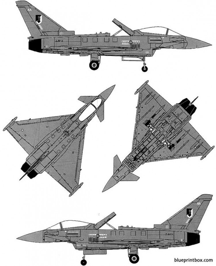 euro fighter ef 2000a typhoon model airplane plan