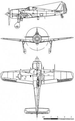 focke wulf fw 190 a3 model airplane plan