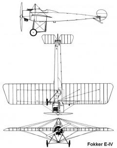 fokker e4 3v model airplane plan