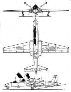 fouga90 3v model airplane plan