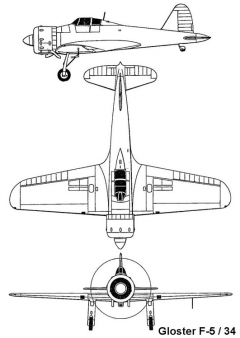 gloster f5 3v model airplane plan