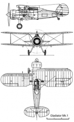 gloster gladiatormk1 3v model airplane plan