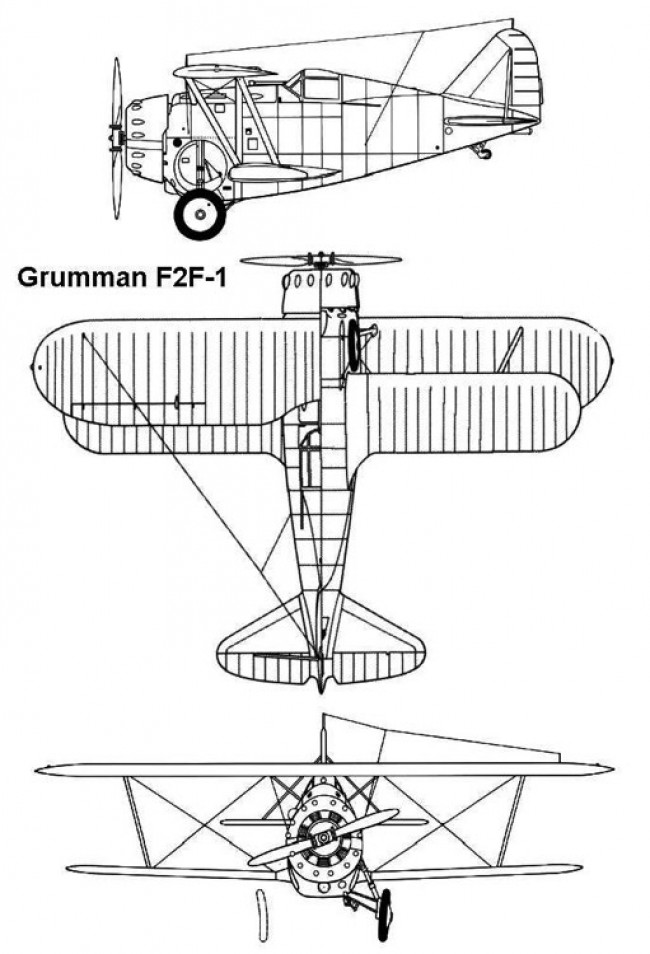 grumman f2f1 3v model airplane plan