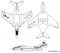 grumman f9f 2 panther 5 model airplane plan