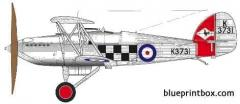 hawker fury i model airplane plan