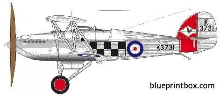 hawker fury i model airplane plan