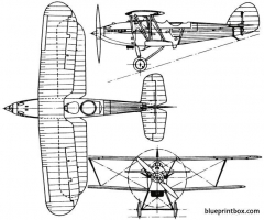 hawker hart 1928 england model airplane plan