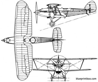 hawker hart 1928 england model airplane plan