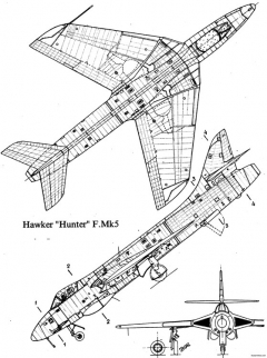 hawker hunter fmk5 2 model airplane plan