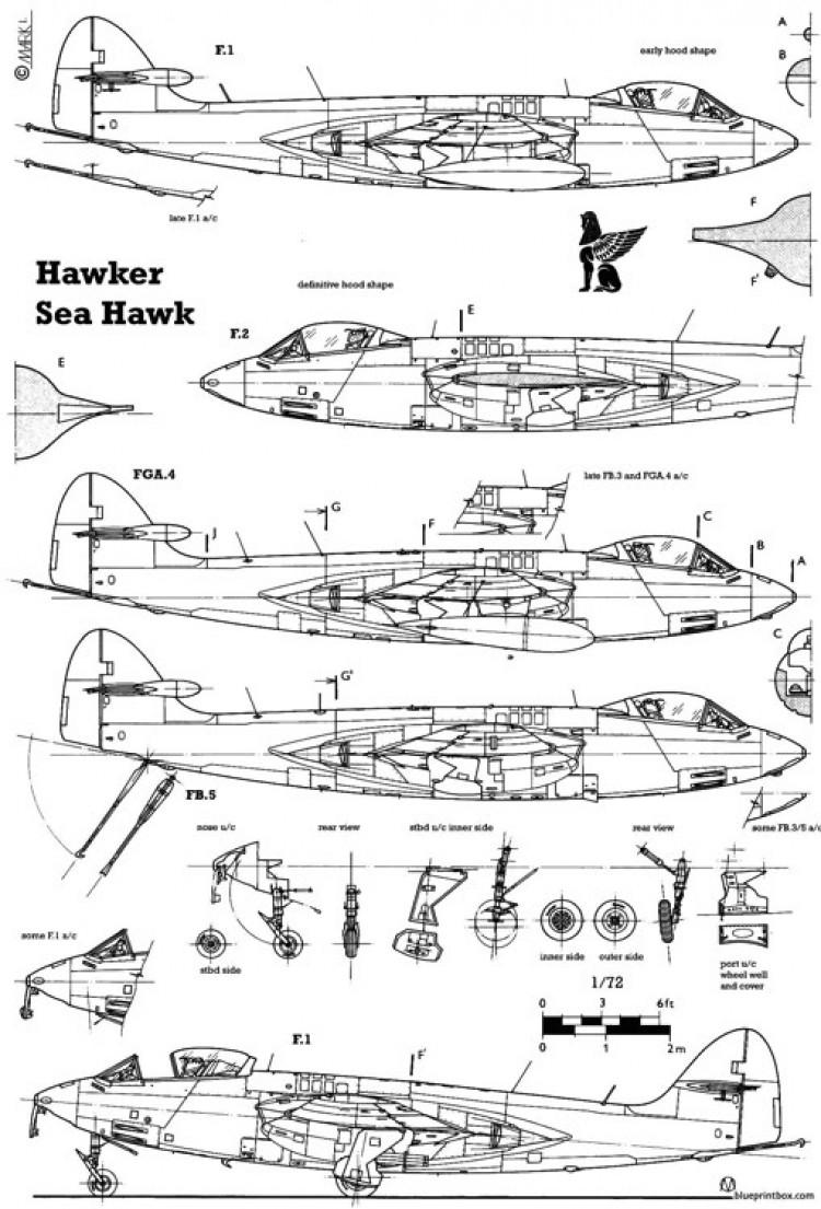 hawker sea hawk 3 model airplane plan