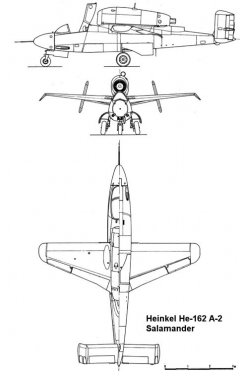 heinkel162 3v model airplane plan