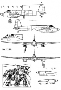 hs129a 1 3v model airplane plan
