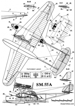 italian sm 55 02 model airplane plan