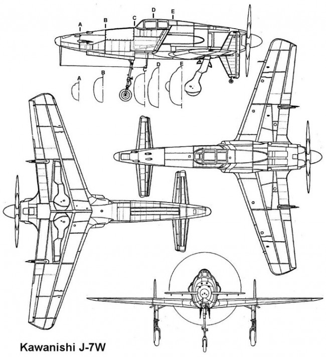 kawanishi j7w 3v model airplane plan