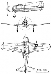 kawanishi n1k2 3v model airplane plan
