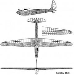 korolev sk3 3v model airplane plan