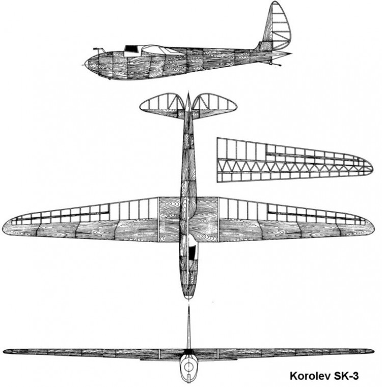 korolev sk3 3v model airplane plan