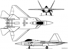 lockheed f 22 raptor 1990 usa model airplane plan