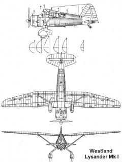 lysander1 2 3v model airplane plan