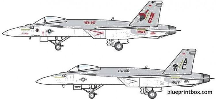 mcdonnel douglas f a 18e super hornet 3 model airplane plan
