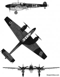 messerschmitt bf110 d 1 r 1 2 model airplane plan