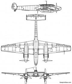 messerschmitt bf 110g model airplane plan