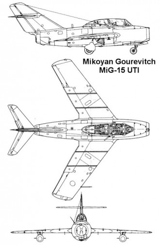 mig15uti 3v model airplane plan