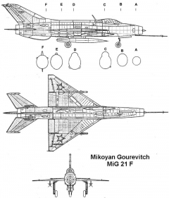mig21f 3v model airplane plan