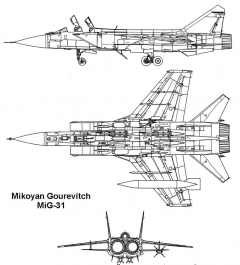mig31 2 3v model airplane plan