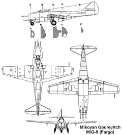 mig9 3v model airplane plan