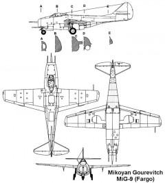 mig9 3v model airplane plan