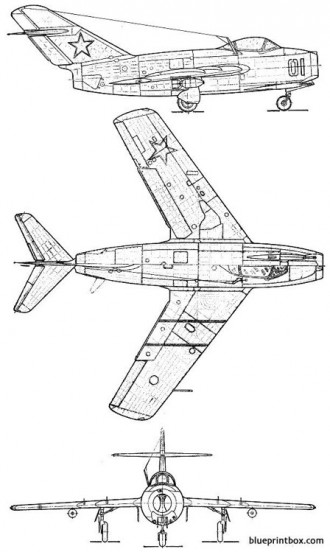 mikoyan gourevitch mig15 bis fagot model airplane plan