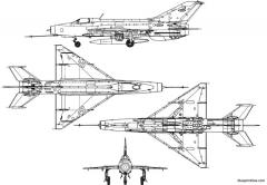 mikoyan gourevitch mig 21pf fishbed c 2 model airplane plan
