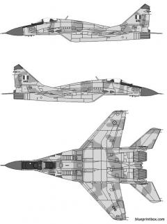 mikoyan gurevich mig 29c fulcrum c model airplane plan