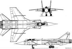 mikoyan gurevich mig 31 1975 russia model airplane plan