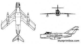 mikoyan mig 17 fresco model airplane plan