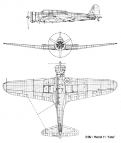 nakajima kate11 3v model airplane plan