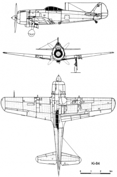 nakajima ki84 3v model airplane plan
