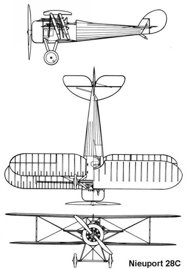 nieuport28c 3v model airplane plan